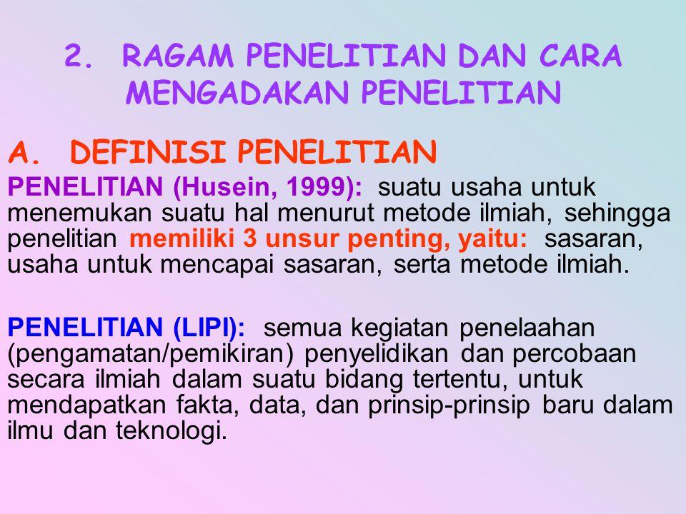 2. RAGAM PENELITIAN DAN CARA MENGADAKAN PENELITIAN A. DEFINISI PENELITIAN PENELITIAN (Husein, 1999): suatu usaha untuk menemukan suatu hal menurut met