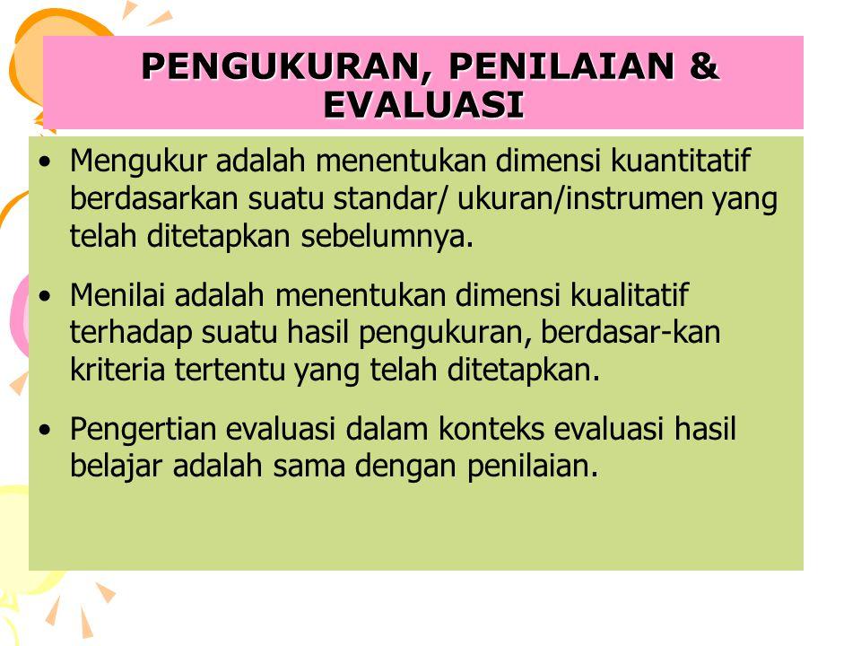 PENGUKURAN, PENILAIAN & EVALUASI PENGUKURAN, PENILAIAN & EVALUASI Mengukur adalah menentukan dimensi kuantitatif berdasarkan suatu standar/ ukuran/ins