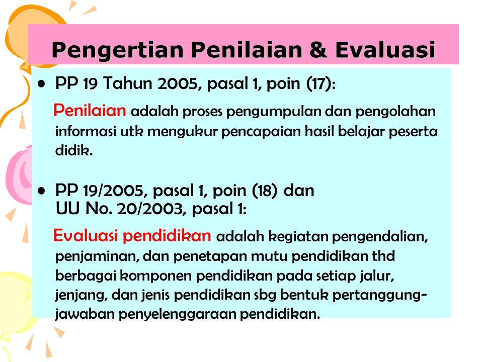 Pengertian Penilaian & Evaluasi PP 19 Tahun 2005, pasal 1, poin (17): Penilaian adalah proses pengumpulan dan pengolahan informasi utk mengukur pencap