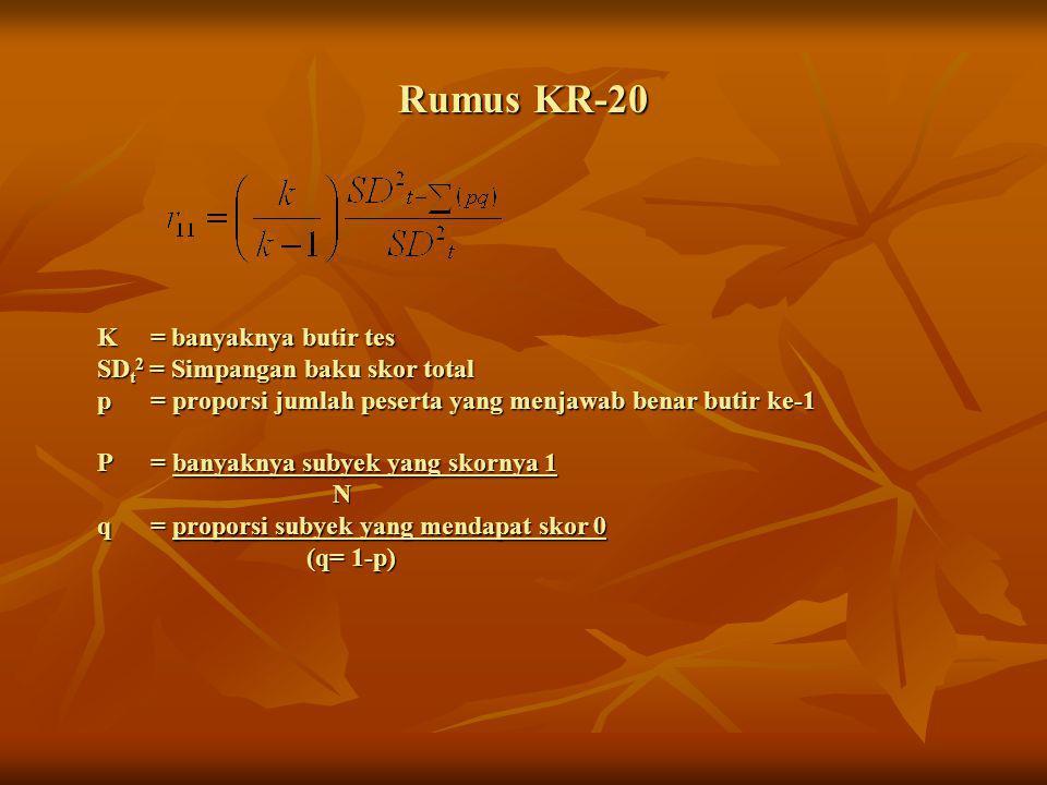 Rumus KR-20 K = banyaknya butir tes SD t 2 = Simpangan baku skor total p = proporsi jumlah peserta yang menjawab benar butir ke-1 P = banyaknya subyek
