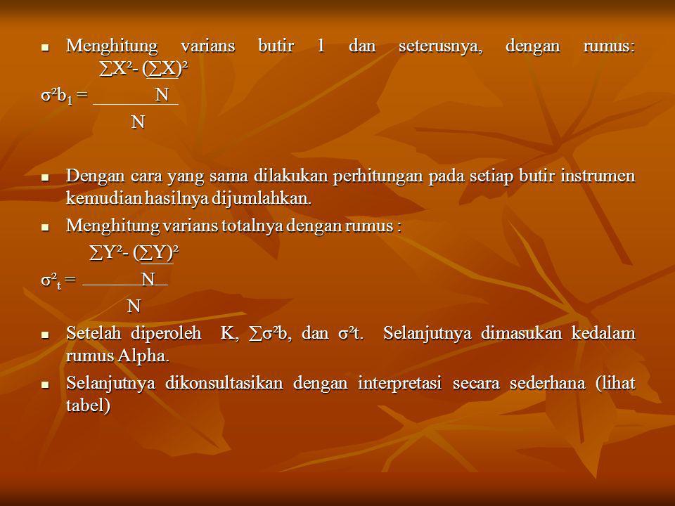 Menghitung varians butir 1 dan seterusnya, dengan rumus:  X²- (  X)² Menghitung varians butir 1 dan seterusnya, dengan rumus:  X²- (  X)² σ²b 1 =