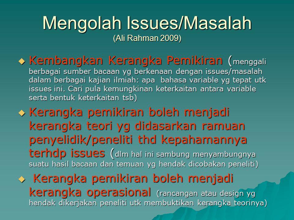 Mengolah Issues/Masalah (Ali Rahman 2009)  Kembangkan Kerangka Pemikiran ( menggali berbagai sumber bacaan yg berkenaan dengan issues/masalah dalam b