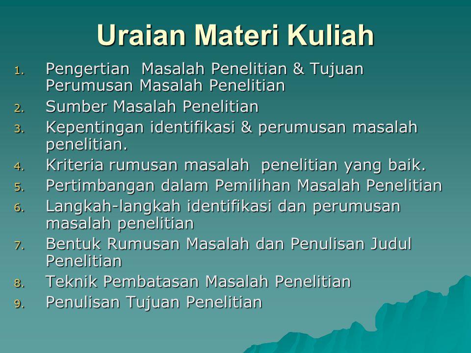 Uraian Materi Kuliah 1. Pengertian Masalah Penelitian & Tujuan Perumusan Masalah Penelitian 2. Sumber Masalah Penelitian 3. Kepentingan identifikasi &
