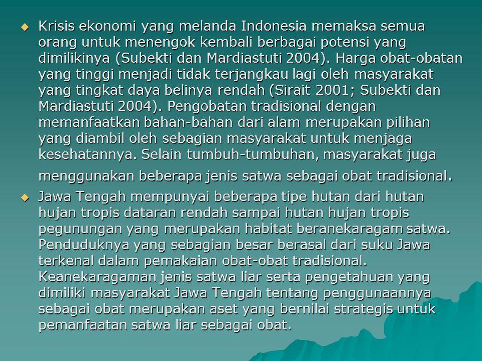  Krisis ekonomi yang melanda Indonesia memaksa semua orang untuk menengok kembali berbagai potensi yang dimilikinya (Subekti dan Mardiastuti 2004). H