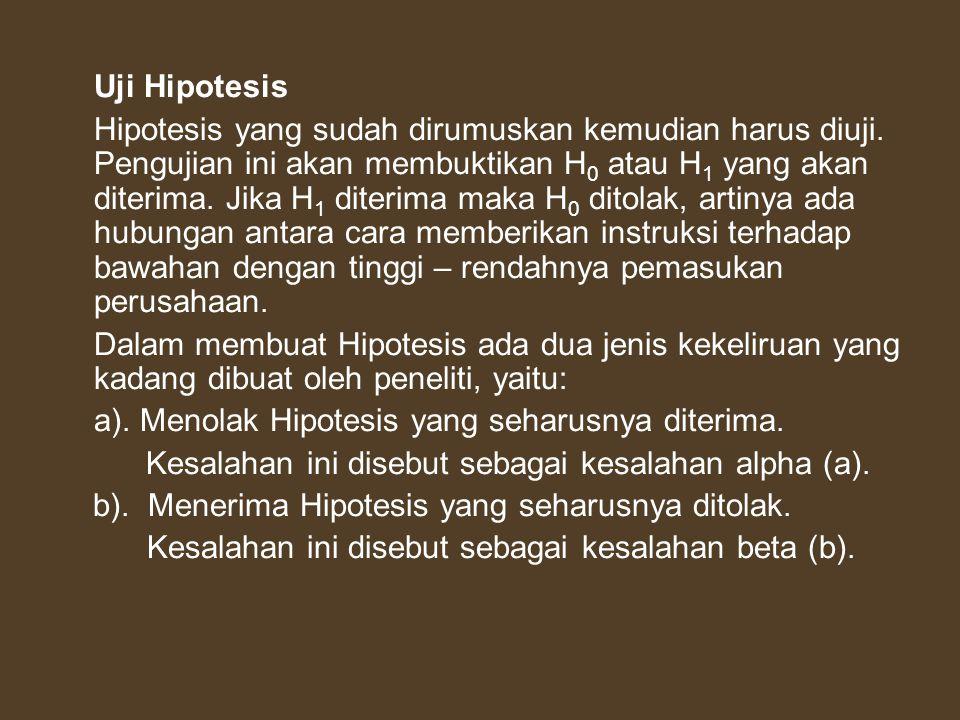 Uji Hipotesis Hipotesis yang sudah dirumuskan kemudian harus diuji. Pengujian ini akan membuktikan H 0 atau H 1 yang akan diterima. Jika H 1 diterima