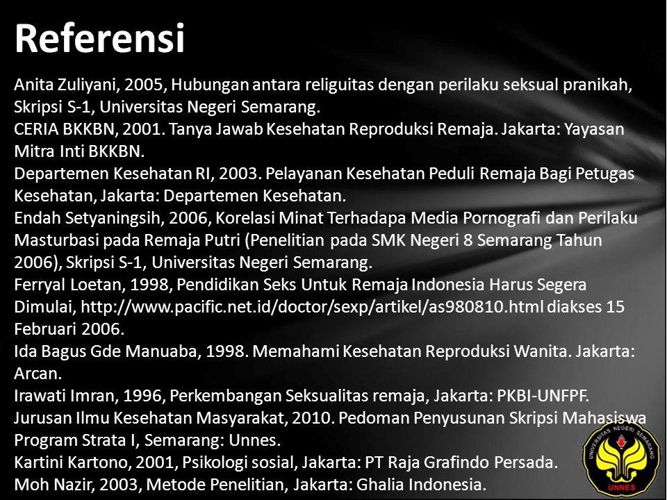 Referensi Anita Zuliyani, 2005, Hubungan antara religuitas dengan perilaku seksual pranikah, Skripsi S-1, Universitas Negeri Semarang. CERIA BKKBN, 20