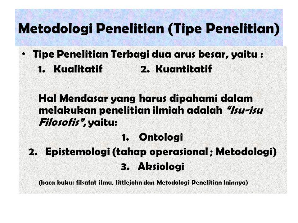 Metodologi Penelitian (Tipe Penelitian) Tipe Penelitian Terbagi dua arus besar, yaitu : 1. Kualitatif2. Kuantitatif Hal Mendasar yang harus dipahami d