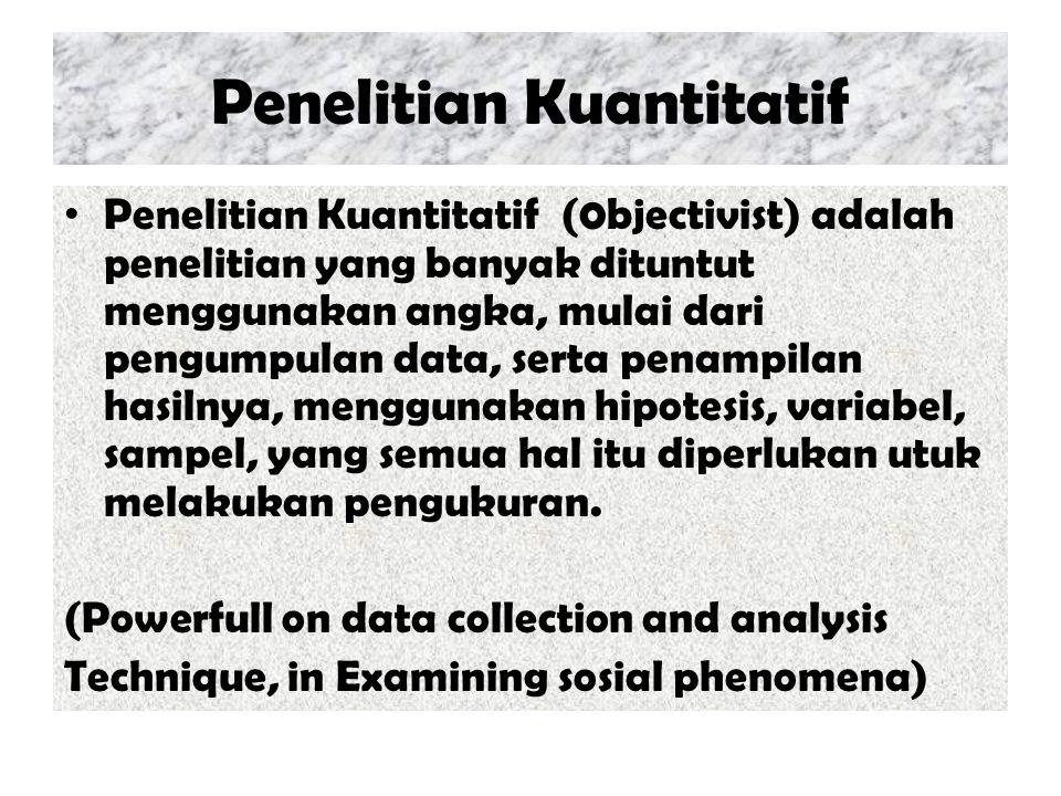 Penelitian Kuantitatif Penelitian Kuantitatif (0bjectivist) adalah penelitian yang banyak dituntut menggunakan angka, mulai dari pengumpulan data, ser