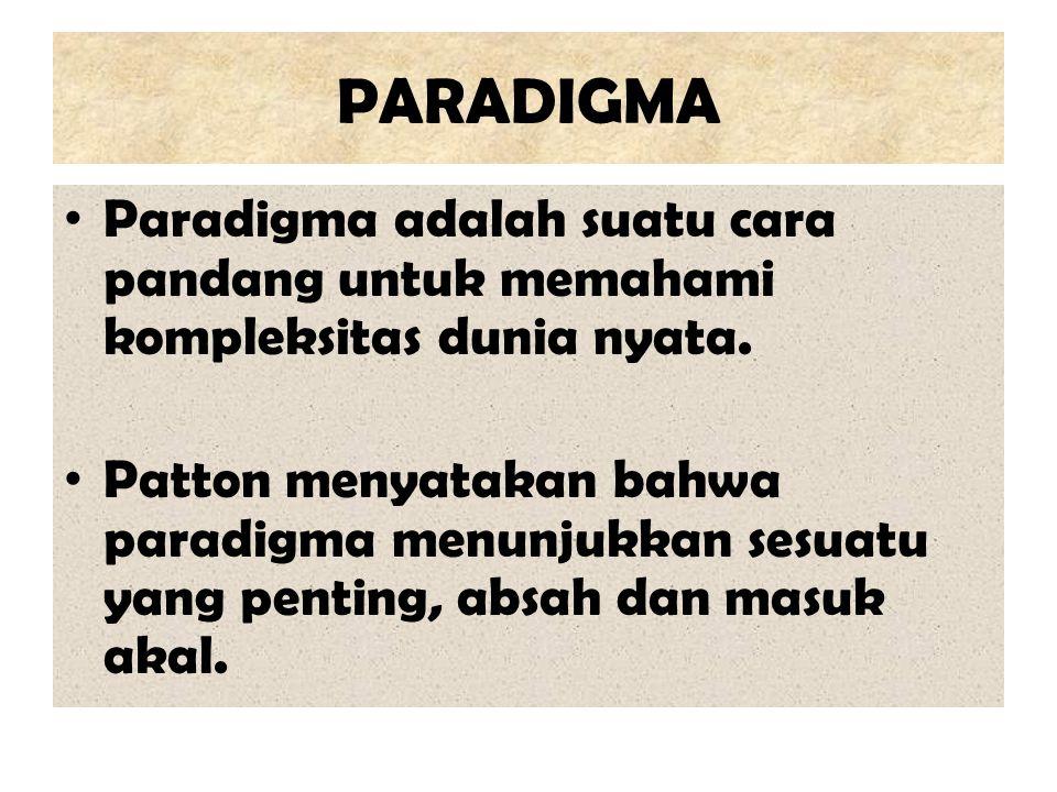 PARADIGMA Paradigma adalah suatu cara pandang untuk memahami kompleksitas dunia nyata. Patton menyatakan bahwa paradigma menunjukkan sesuatu yang pent