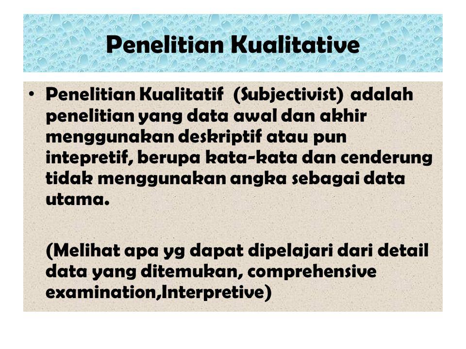 Penelitian Kualitative Penelitian Kualitatif (Subjectivist) adalah penelitian yang data awal dan akhir menggunakan deskriptif atau pun intepretif, ber