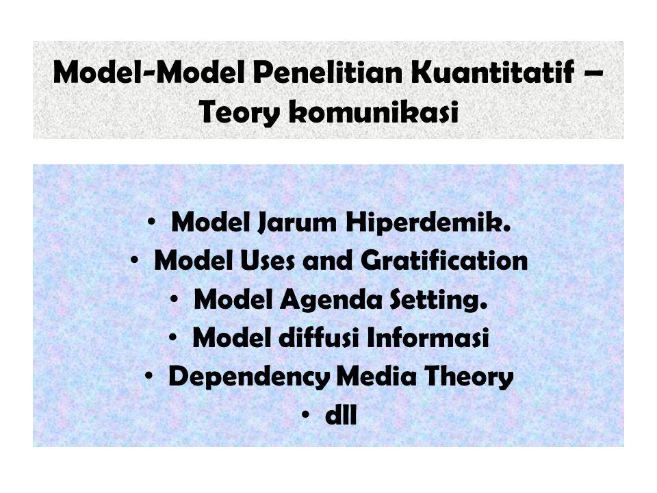 Model-Model Penelitian Kuantitatif – Teory komunikasi Model Jarum Hiperdemik. Model Uses and Gratification Model Agenda Setting. Model diffusi Informa