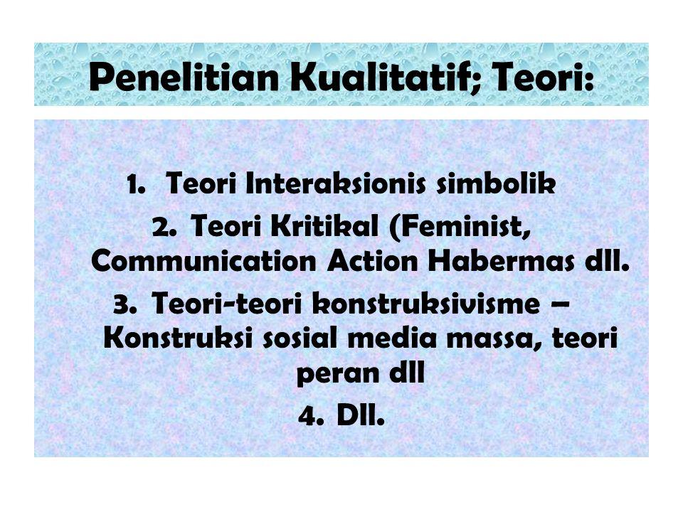 Penelitian Kualitatif; Teori: 1.Teori Interaksionis simbolik 2.Teori Kritikal (Feminist, Communication Action Habermas dll. 3.Teori-teori konstruksivi