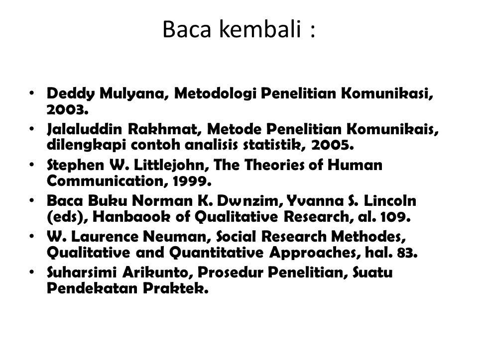 Baca kembali : Deddy Mulyana, Metodologi Penelitian Komunikasi, 2003. Jalaluddin Rakhmat, Metode Penelitian Komunikais, dilengkapi contoh analisis sta