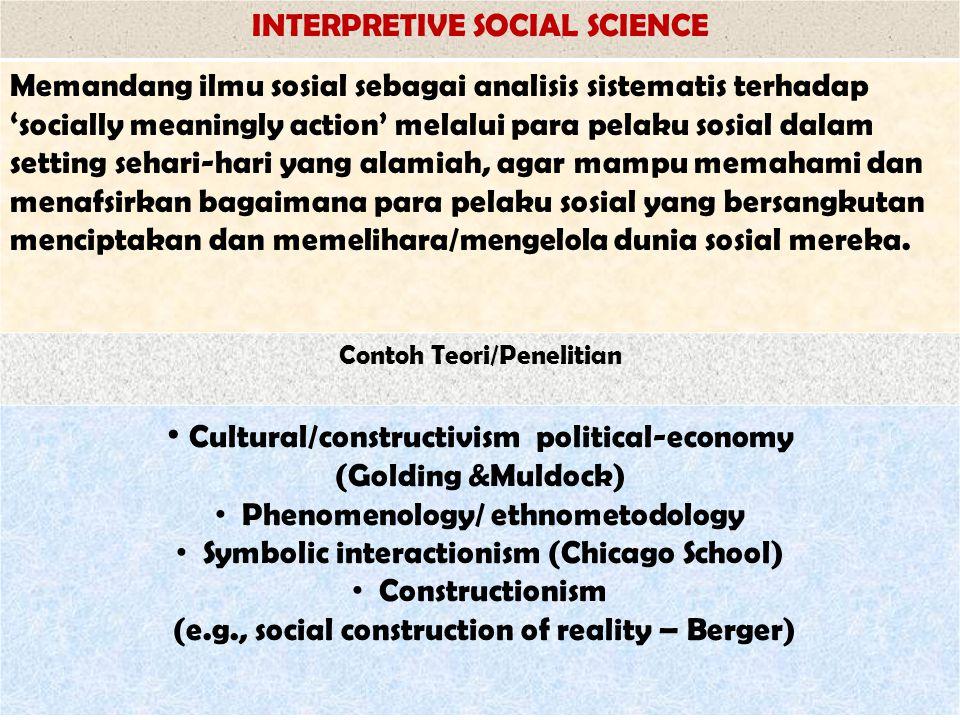INTERPRETIVE SOCIAL SCIENCE Memandang ilmu sosial sebagai analisis sistematis terhadap 'socially meaningly action' melalui para pelaku sosial dalam se