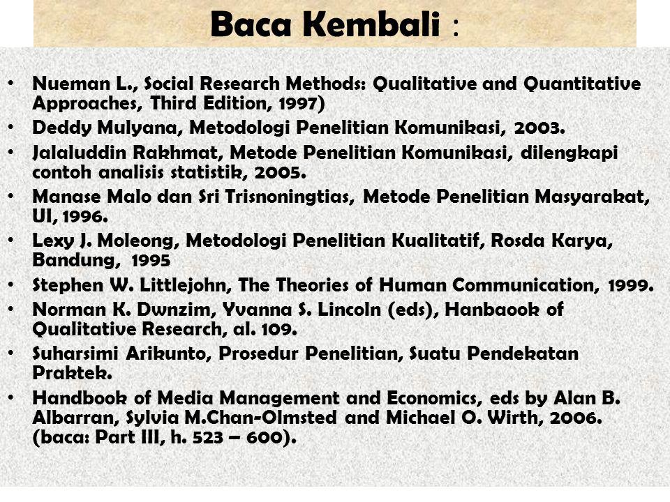 Baca Kembali : Nueman L., Social Research Methods: Qualitative and Quantitative Approaches, Third Edition, 1997) Deddy Mulyana, Metodologi Penelitian