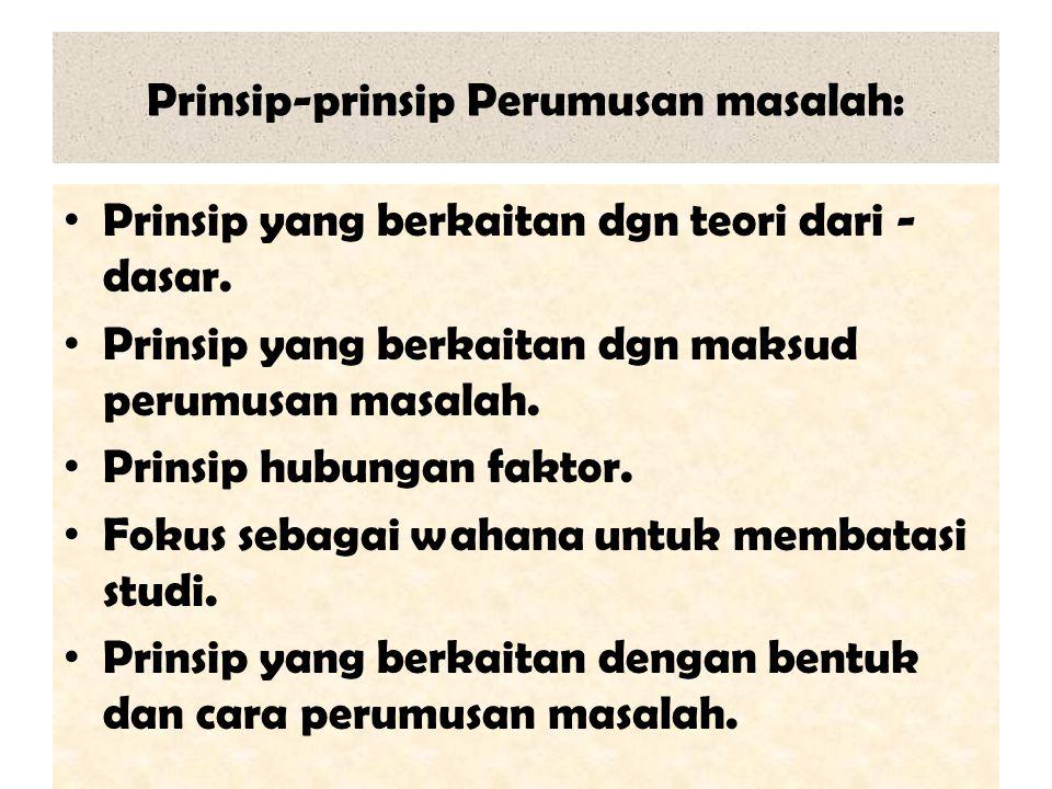 Prinsip-prinsip Perumusan masalah: Prinsip yang berkaitan dgn teori dari - dasar. Prinsip yang berkaitan dgn maksud perumusan masalah. Prinsip hubunga