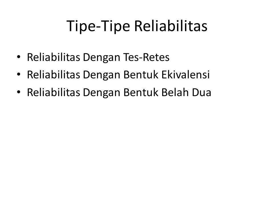 Tipe-Tipe Reliabilitas Reliabilitas Dengan Tes-Retes Reliabilitas Dengan Bentuk Ekivalensi Reliabilitas Dengan Bentuk Belah Dua