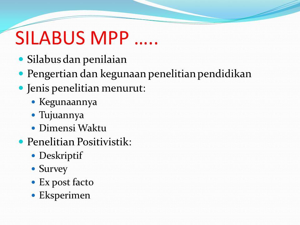 SILABUS MPP ….. Silabus dan penilaian Pengertian dan kegunaan penelitian pendidikan Jenis penelitian menurut: Kegunaannya Tujuannya Dimensi Waktu Pene