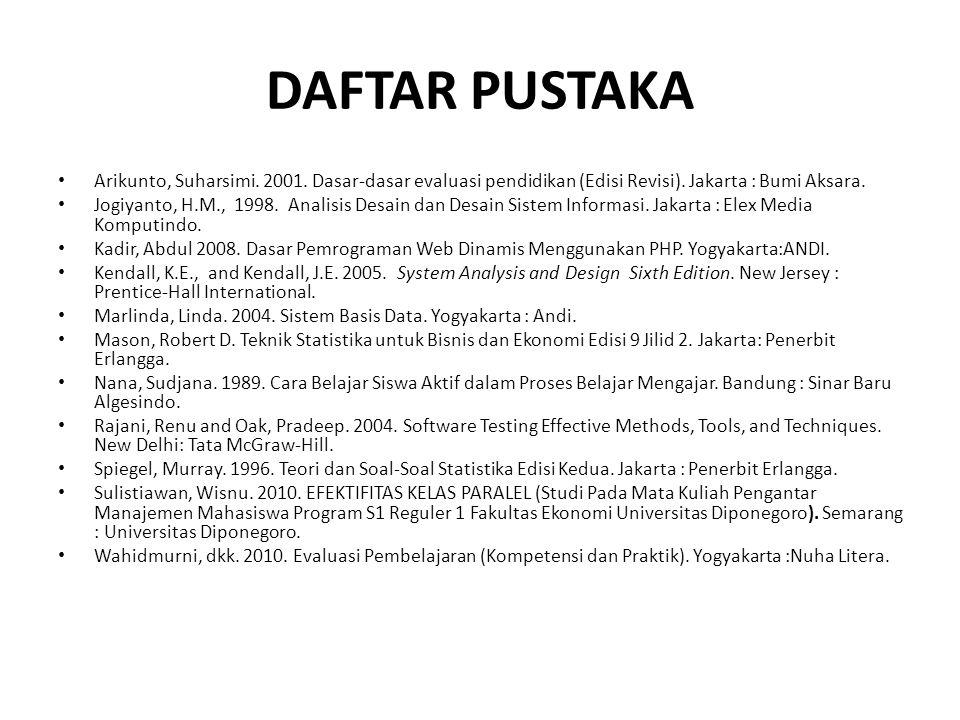 DAFTAR PUSTAKA Arikunto, Suharsimi. 2001. Dasar-dasar evaluasi pendidikan (Edisi Revisi). Jakarta : Bumi Aksara. Jogiyanto, H.M., 1998. Analisis Desai