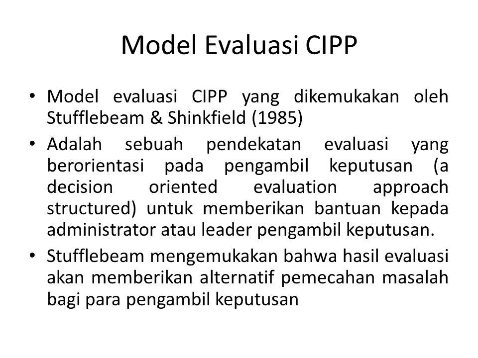 Model Evaluasi CIPP Model evaluasi CIPP yang dikemukakan oleh Stufflebeam & Shinkfield (1985) Adalah sebuah pendekatan evaluasi yang berorientasi pada