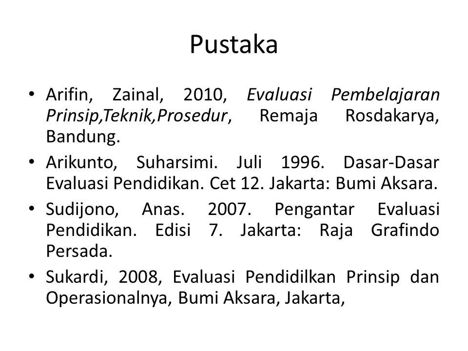 Pustaka Arifin, Zainal, 2010, Evaluasi Pembelajaran Prinsip,Teknik,Prosedur, Remaja Rosdakarya, Bandung. Arikunto, Suharsimi. Juli 1996. Dasar-Dasar E