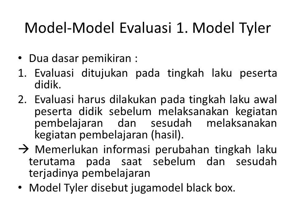 Model-Model Evaluasi 1. Model Tyler Dua dasar pemikiran : 1.Evaluasi ditujukan pada tingkah laku peserta didik. 2.Evaluasi harus dilakukan pada tingka