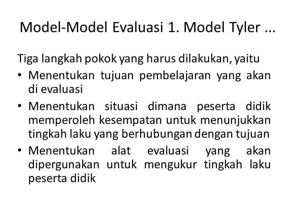 Model-Model Evaluasi 1. Model Tyler... Tiga langkah pokok yang harus dilakukan, yaitu Menentukan tujuan pembelajaran yang akan di evaluasi Menentukan