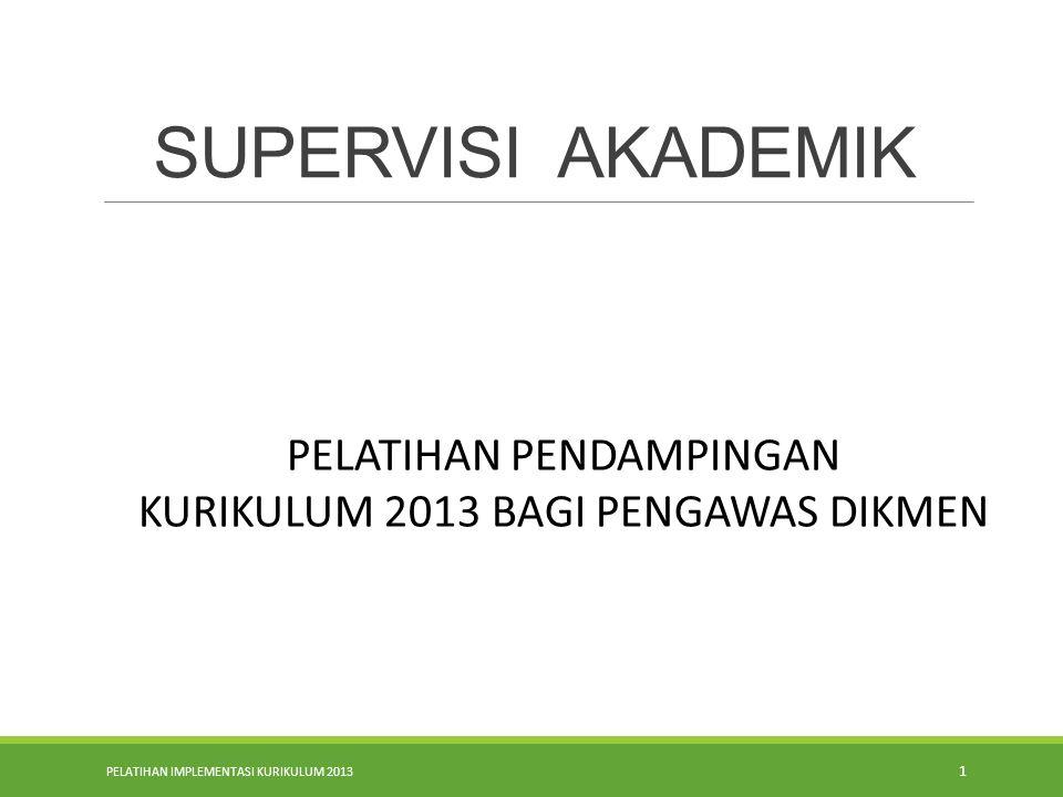 PELATIHAN IMPLEMENTASI KURIKULUM 2013 1 SUPERVISI AKADEMIK PELATIHAN PENDAMPINGAN KURIKULUM 2013 BAGI PENGAWAS DIKMEN