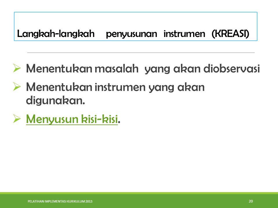 PELATIHAN IMPLEMENTASI KURIKULUM 2013 20  Menentukan masalah yang akan diobservasi  Menentukan instrumen yang akan digunakan.  Menyusun kisi-kisi.