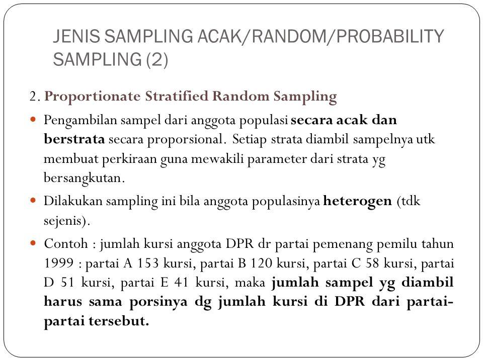JENIS SAMPLING ACAK/RANDOM/PROBABILITY SAMPLING (2) 2. Proportionate Stratified Random Sampling Pengambilan sampel dari anggota populasi secara acak d