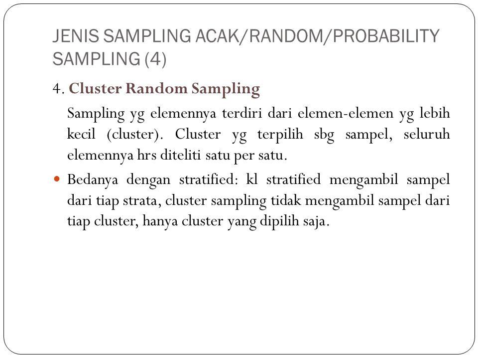 JENIS SAMPLING ACAK/RANDOM/PROBABILITY SAMPLING (4) 4. Cluster Random Sampling Sampling yg elemennya terdiri dari elemen-elemen yg lebih kecil (cluste