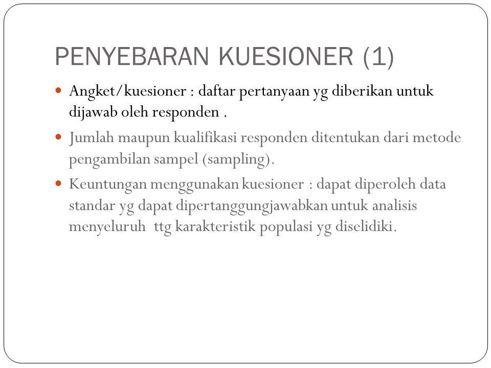 PENYEBARAN KUESIONER (1) Angket/kuesioner : daftar pertanyaan yg diberikan untuk dijawab oleh responden. Jumlah maupun kualifikasi responden ditentuka