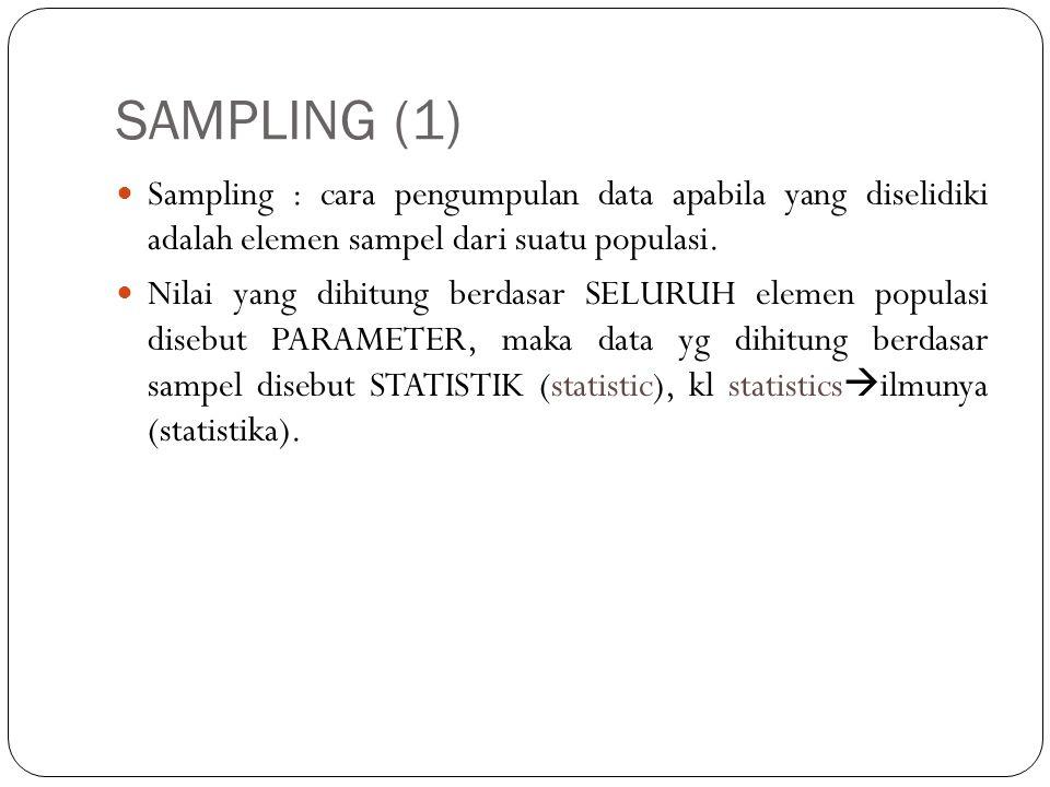 SAMPLING (2) Kelebihan pengumpulan data dengan cara sampling : - biaya yg dibutuhkan sedikit - memerlukan waktu lebih cepat - tenaga tdk banyak - dapat menghasilkan cakupan data yg lbh luas dan terperinci.