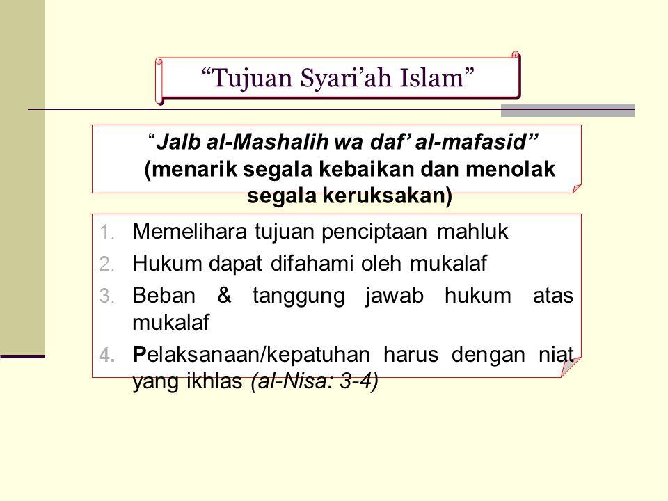 """""""Tujuan Syari'ah Islam"""" """"Jalb al-Mashalih wa daf' al-mafasid"""" (menarik segala kebaikan dan menolak segala keruksakan)  Memelihara tujuan penciptaan"""