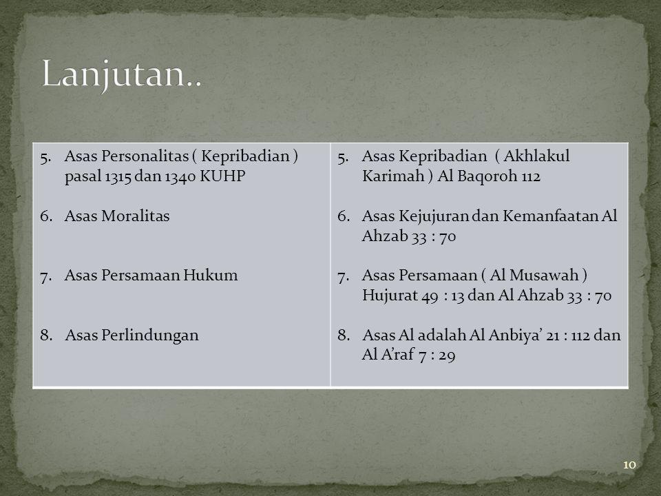 10 5.Asas Personalitas ( Kepribadian ) pasal 1315 dan 1340 KUHP 6.Asas Moralitas 7.Asas Persamaan Hukum 8. Asas Perlindungan 5.Asas Kepribadian ( Akhl