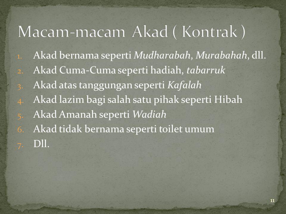 11 1. Akad bernama seperti Mudharabah, Murabahah, dll. 2. Akad Cuma-Cuma seperti hadiah, tabarruk 3. Akad atas tanggungan seperti Kafalah 4. Akad lazi