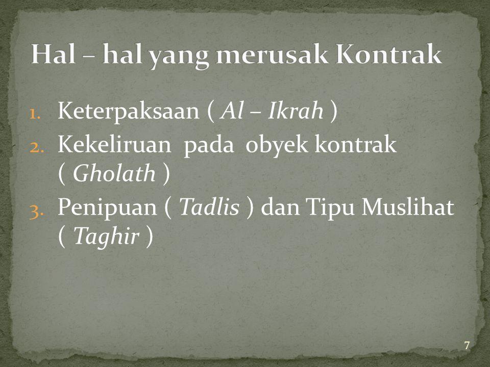 7 1. Keterpaksaan ( Al – Ikrah ) 2. Kekeliruan pada obyek kontrak ( Gholath ) 3. Penipuan ( Tadlis ) dan Tipu Muslihat ( Taghir )