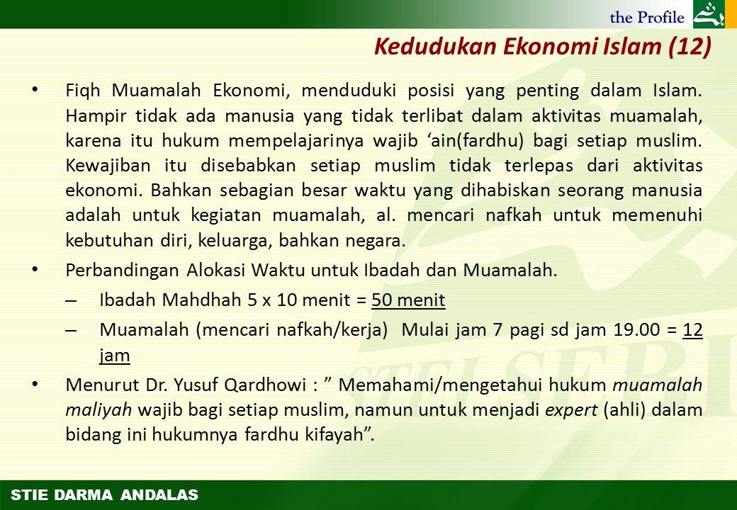 STIE DARMA ANDALAS Kedudukan Ekonomi Islam (11) Menurut Dr Abdul Sattar dalam kitabnya Al-Muamalah fil Islam (hlm.16), Muamalah ini adalah sunnah yang