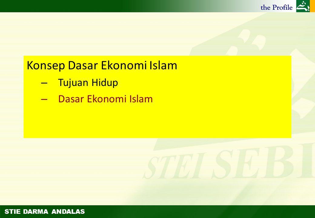 STIE DARMA ANDALAS Permasalahan dalam Mencapai Falah (2) Ilmu ekonomi Islam lahir untuk menyelesaikan permasalahan kelangkaan relatif (relative scarci