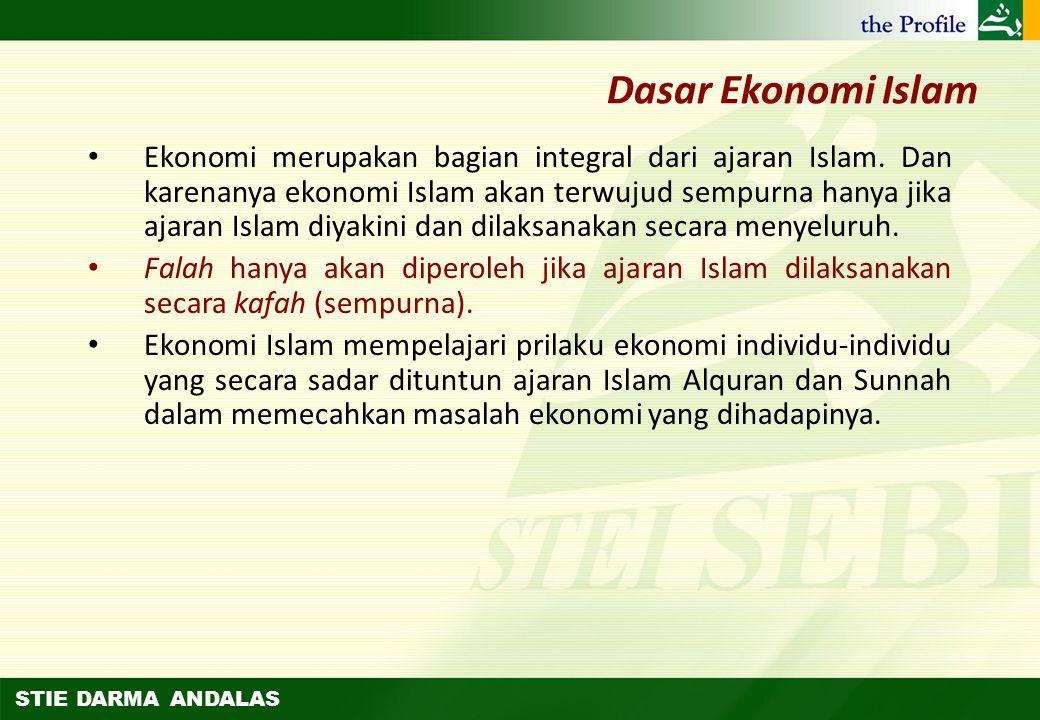 STIE DARMA ANDALAS Konsep Dasar Ekonomi Islam – Tujuan Hidup – Dasar Ekonomi Islam