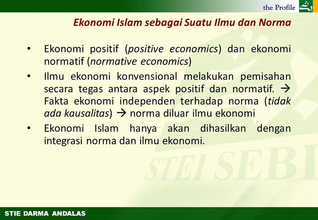 STIE DARMA ANDALAS Pengertian dan Lingkup Ekonomi Islam (2) Beberapa ekonom memberikan penegasan bahwa ruang lingkup ekonomi Islam adalah masyarakat M