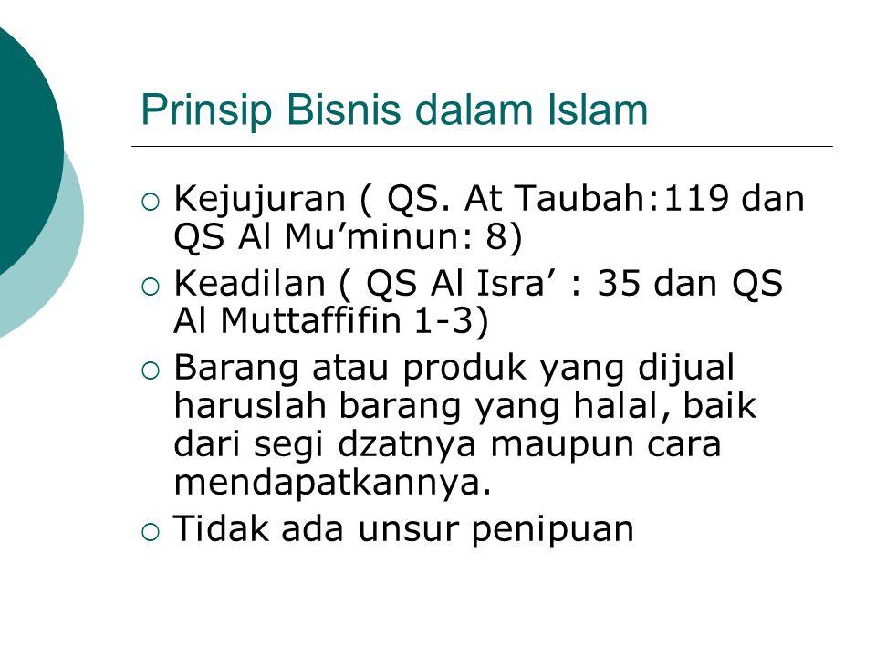 Prinsip Bisnis dalam Islam  Kejujuran ( QS. At Taubah:119 dan QS Al Mu'minun: 8)  Keadilan ( QS Al Isra' : 35 dan QS Al Muttaffifin 1-3)  Barang at