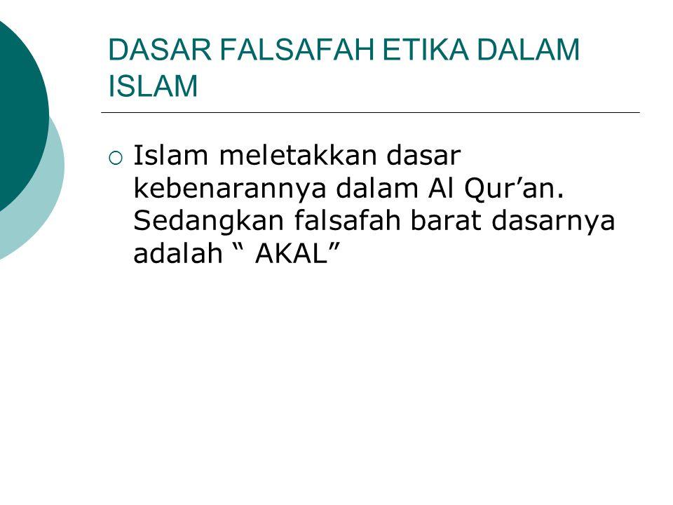 """DASAR FALSAFAH ETIKA DALAM ISLAM  Islam meletakkan dasar kebenarannya dalam Al Qur'an. Sedangkan falsafah barat dasarnya adalah """" AKAL"""""""