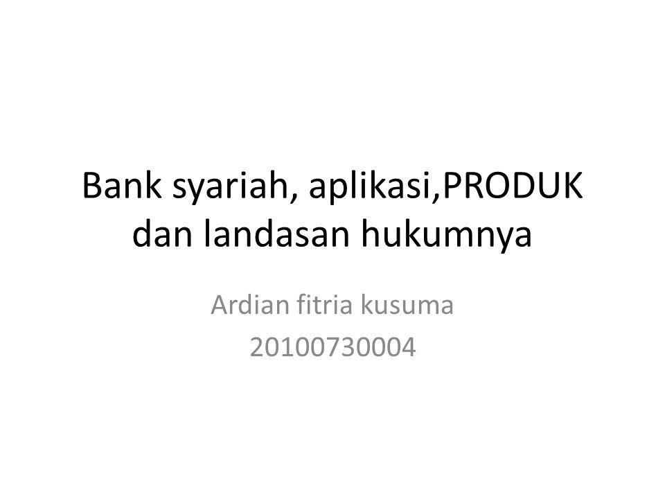 Aplikasi produk bank syariah NOPRODUK PENGHIMPUNAN DANAPRINSIP SYARIAH 1GiroWadi'ah Yad Dhamanah 2TabunganWadi'ah Yad Dhamanah dan Mudharabah Mutlaqah (Investasi Tidak Terikat) 3DepositoMudharabah Mutlaqah (Investasi Tidak Terikat) 4Investasi KhususMudharabah Muqayyadah (Investasi Terikat)