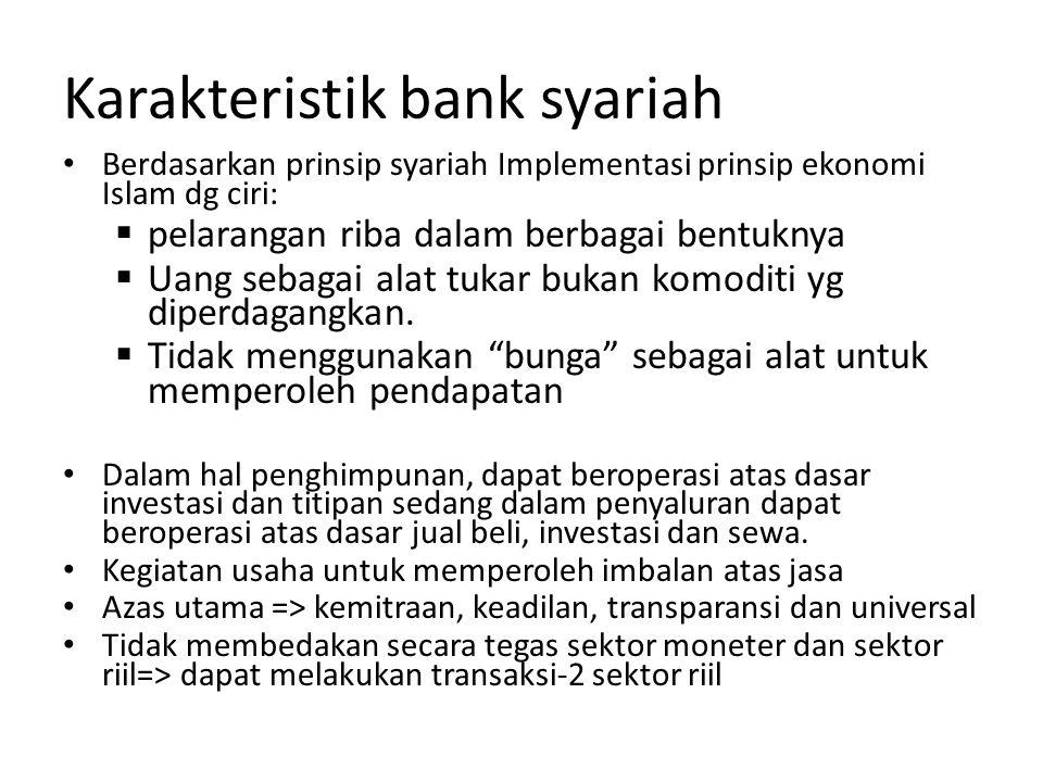 Karakteristik bank syariah Berdasarkan prinsip syariah Implementasi prinsip ekonomi Islam dg ciri:  pelarangan riba dalam berbagai bentuknya  Uang s