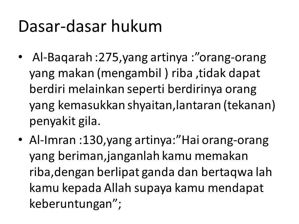 "Dasar-dasar hukum Al-Baqarah :275,yang artinya :""orang-orang yang makan (mengambil ) riba,tidak dapat berdiri melainkan seperti berdirinya orang yang"