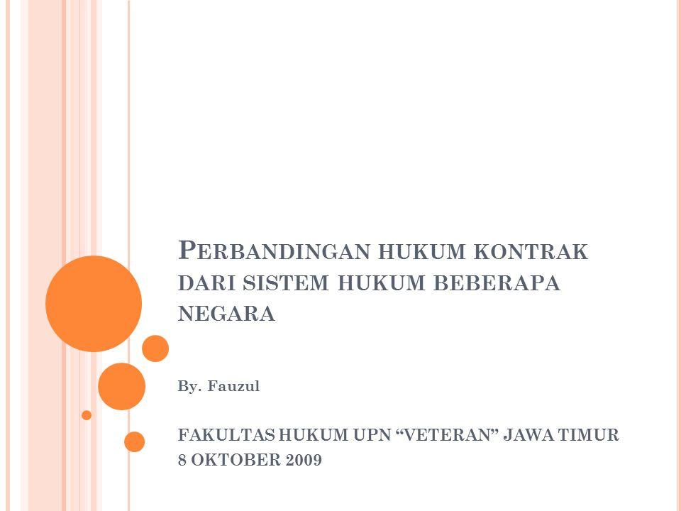 Sistem Hukum Kontrak Kata sepakat, penawaran dan penerimaan penawaran Masalah peralihan hak Prinsip kebebasan berkontrak Wanprestasi dan ganti rugi