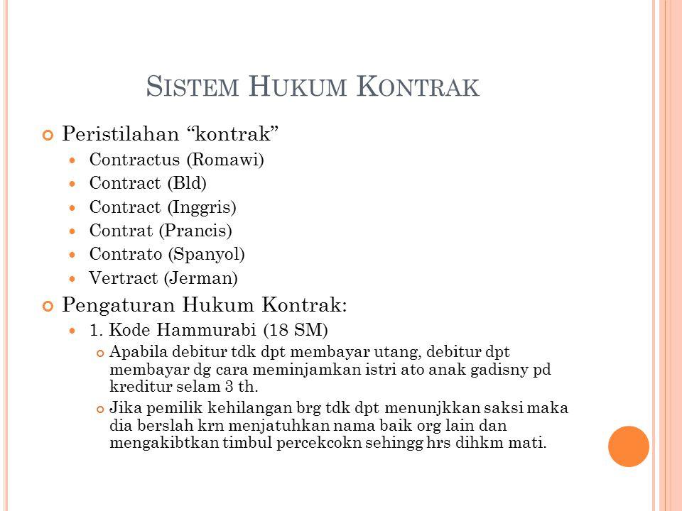 S ISTEM H UKUM K ONTRAK Peristilahan kontrak Contractus (Romawi) Contract (Bld) Contract (Inggris) Contrat (Prancis) Contrato (Spanyol) Vertract (Jerman) Pengaturan Hukum Kontrak: 1.