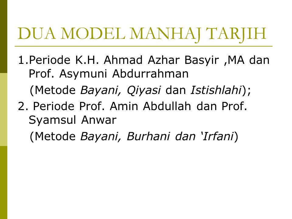 Lanjutan…  Manhaj Tarjih adalah pedoman beristinbath yang digunakan para ulama Muhammadiyah;  Sebagai suatu pedoman bertarjih Manhaj Tarjih mengalam