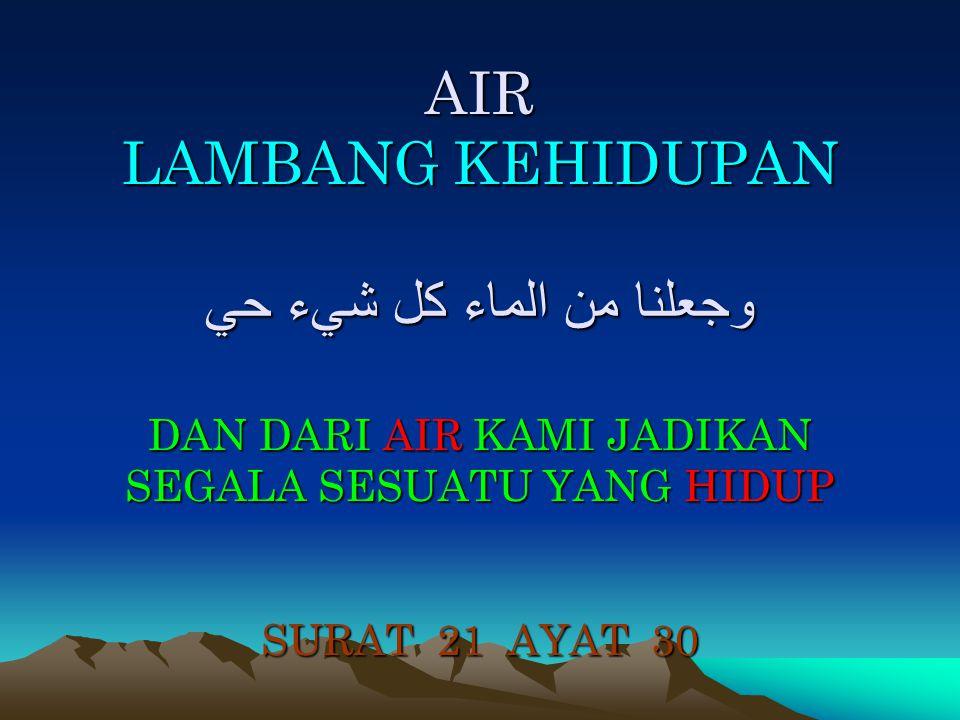 AIR LAMBANG KEHIDUPAN وجعلنا من الماء كل شيء حي DAN DARI AIR KAMI JADIKAN SEGALA SESUATU YANG HIDUP SURAT 21 AYAT 30